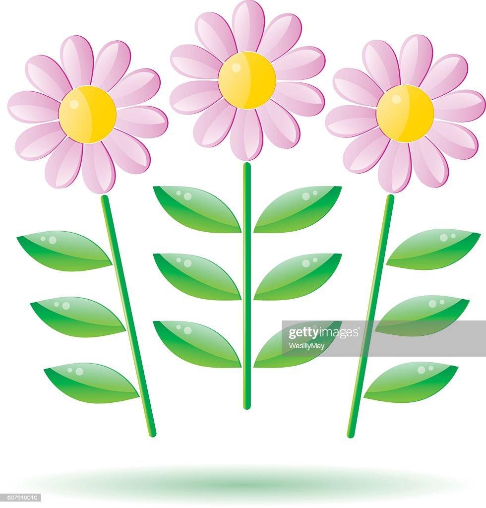 Vector Cartoon Bouquet Of Glass Flowers With A Stem Vector Art