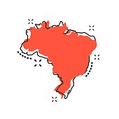 Vector cartoon Brazil map icon in comic style. Brazil sign illustration pictogram. Cartography map business splash effect concept.