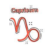 Vector cartoon capricorn zodiac icon in comic style. Astrology sign illustration pictogram. Capricorn horoscope business splash effect concept.