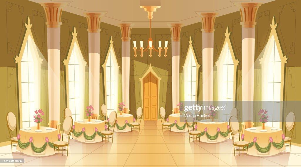 Vector cartoon castle hall, ballroom for dancing