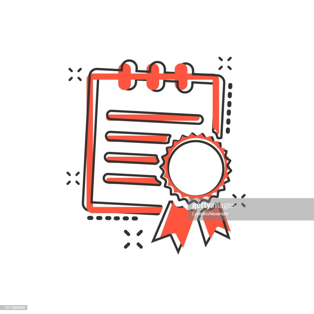 Vector cartoon certificate icon in comic style. Diploma sign illustration pictogram. Certificate document business splash effect concept.