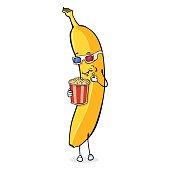 Vector Cartoon Character - Banana with Popcorn and 3d-Glasses