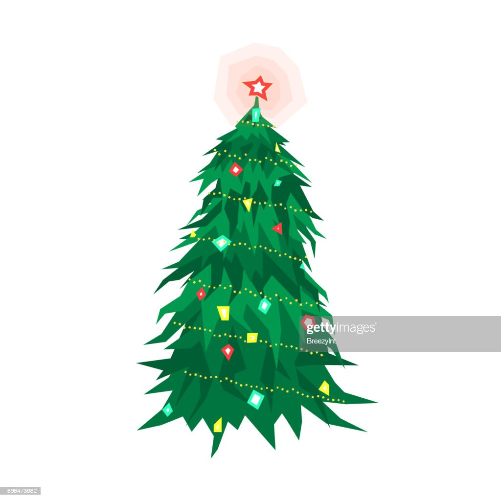 Vector Cartoon Christmas Tree Isolated on Wite Background