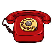 Vector Cartoon Classic Red Rotary Telephone