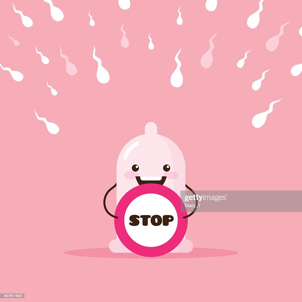 Vector cartoon condom illustration with stop sign and sperms.