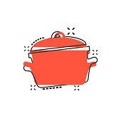 Vector cartoon cooking pan icon in comic style. Kitchen pot concept illustration pictogram. Saucepan equipment business splash effect concept.