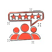 Vector cartoon customer reviews, user feedback icon in comic style. Rating sign illustration pictogram. Stars rating business splash effect concept.