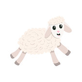 Vector cartoon cute sheep