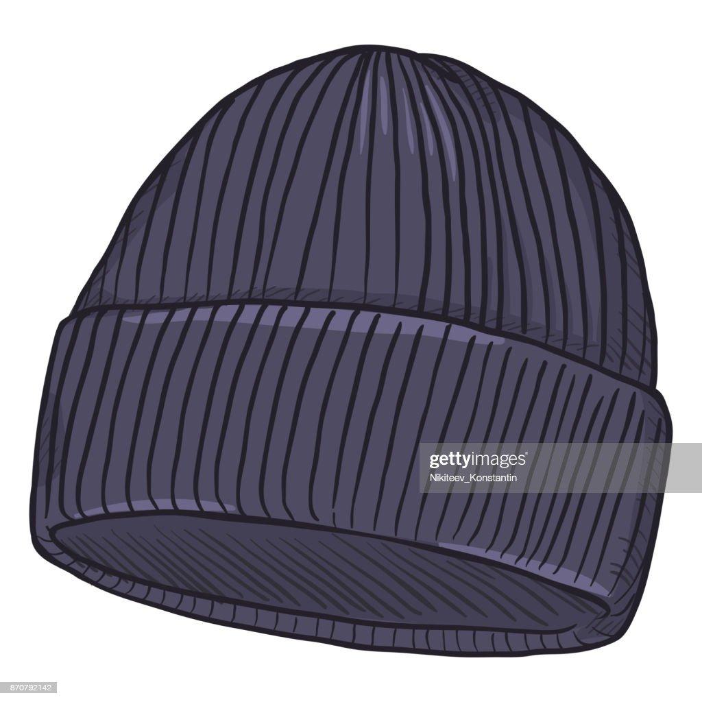 Vector Cartoon Dark Blue Knitted Hat