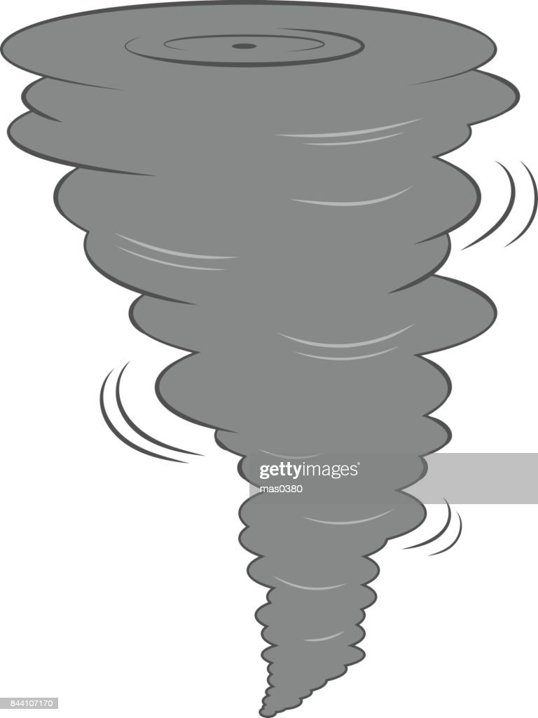Vector cartoon dark tornado swirl. Isolated on white background.
