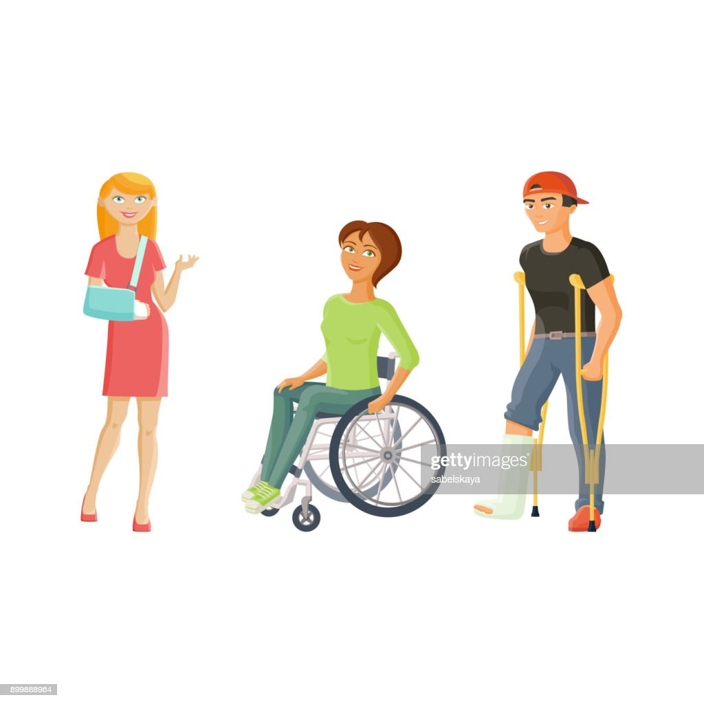 vector cartoon disabled people set