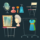 Vector cartoon dressing room collection for actress