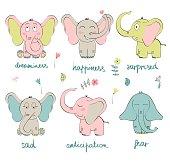 Vector Cartoon elephants