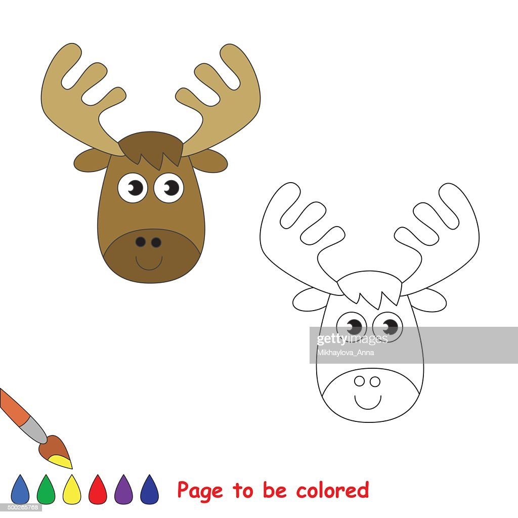 Vector cartoon elk to be colored