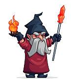 Vector cartoon evil wizard or bad magician icon