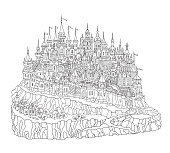 Vector cartoon fairy tale rocky island landscape with castle, houses and trees. Hand drawn black and white doodle sketch. Tee shirt fantasy print. Adults and children coloring book page