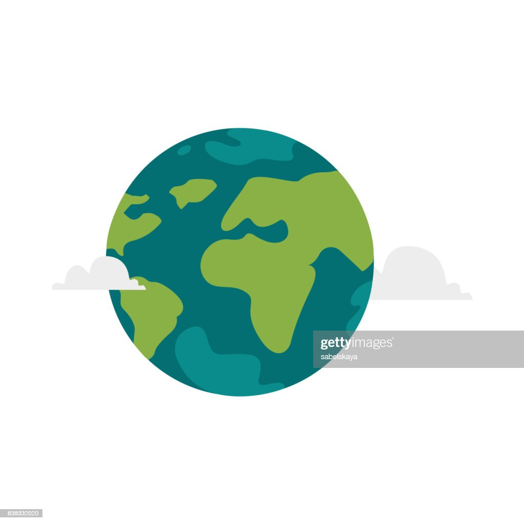 Vector cartoon flat globe illustration isolated