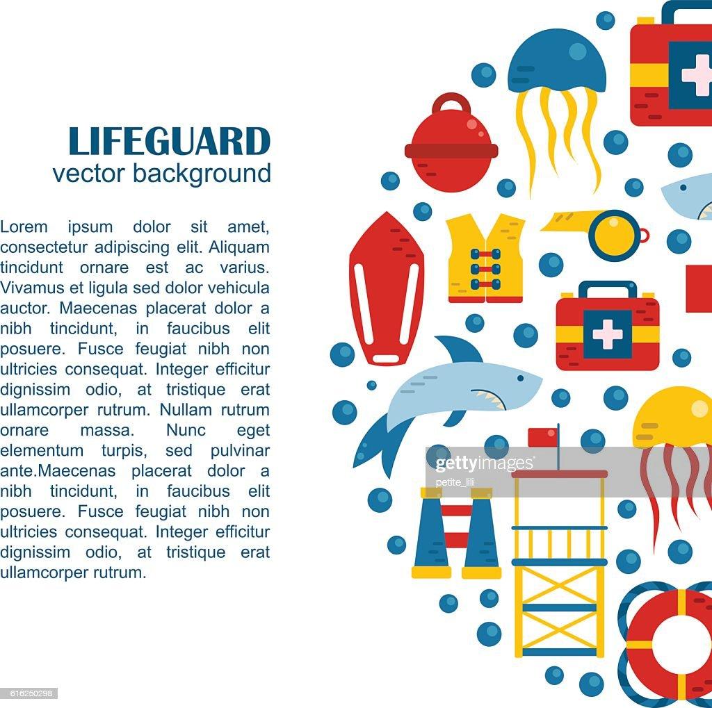 De nadador salva-vidas plano de fundo Vetor fogo : Arte vetorial