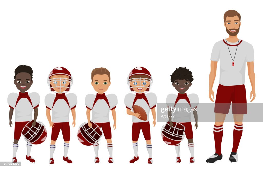 Vector Cartoon flat school american football boys team standing with their coach trainer.