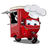 Vector cartoon food truck scooter isolated on white