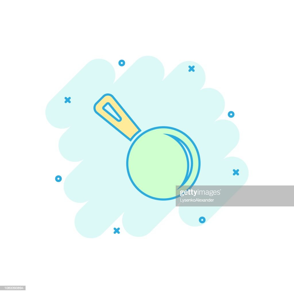 Vector cartoon frying pan icon in comic style. Cooking pan concept illustration pictogram. Skillet kitchen equipment business splash effect concept.