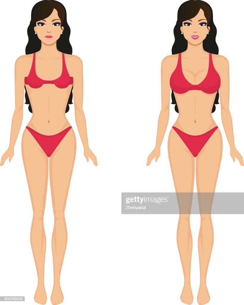 Vector cartoon girl breasts before and after