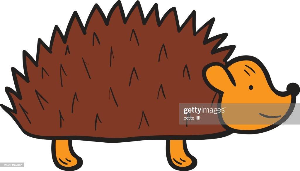 Vector cartoon hand drawn isolated hedgehog