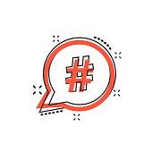 Vector cartoon hashtag icon in comic style. Social media marketing concept illustration pictogram. Hashtag network business splash effect concept.