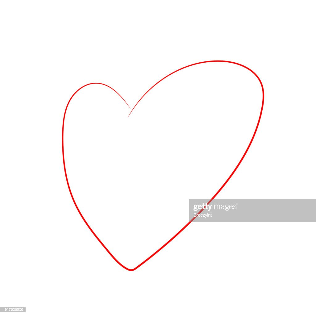 Vector Cartoon Heart Isolated on White Background