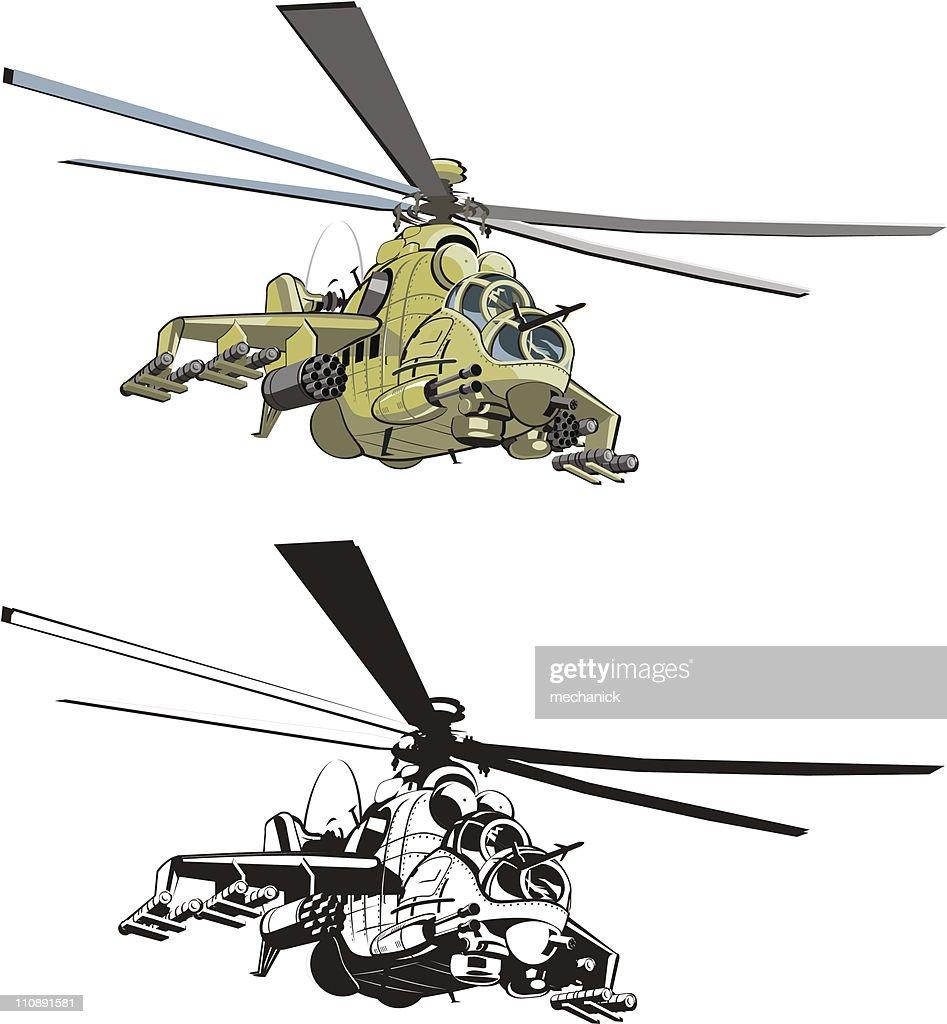 Vector cartoon helicopter