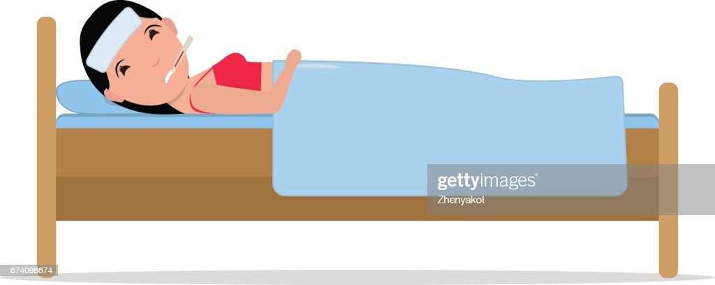 Vector cartoon ill sick woman lying bed with flu vector art getty vector cartoon ill sick woman lying bed with flu vector art thecheapjerseys Choice Image