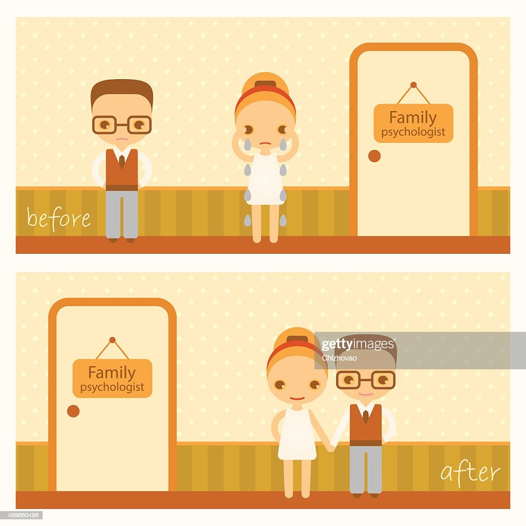 vector cartoon illustration about family psychology