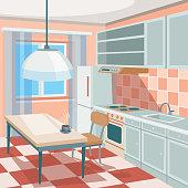 Vector cartoon illustration of a kitchen interior