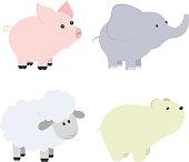 Vector cartoon illustration of baby animals