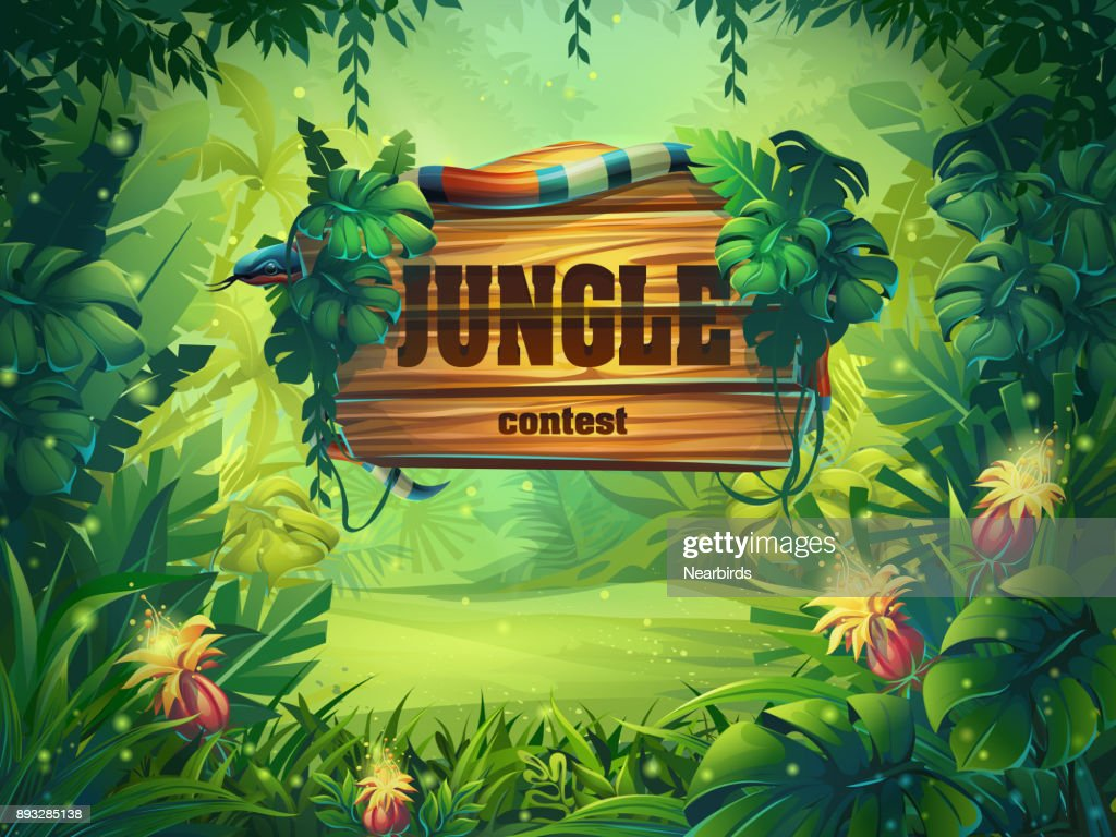 Vector cartoon illustration of background rainforest
