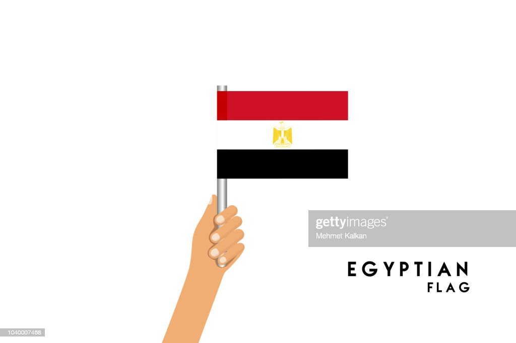 Vector cartoon illustration of human hands hold Egyp flag. Isolated object on white background.