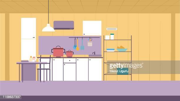 キッチンインテリアのベクトル漫画イラスト - キッチン点のイラスト素材/クリップアート素材/マンガ素材/アイコン素材