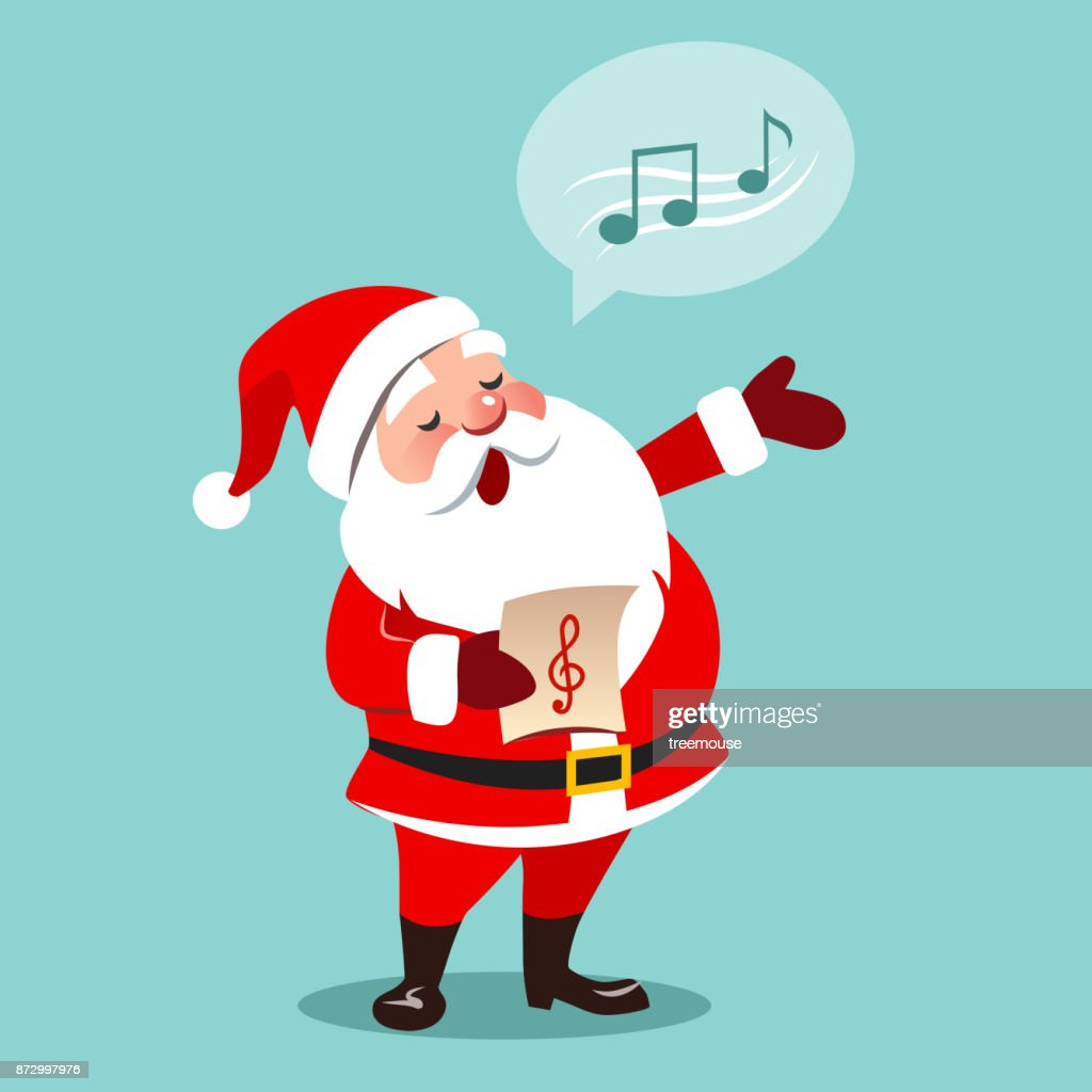 Vector cartoon illustration of Santa Claus singing Christmas carols, holding sheet music in one hand, musical notes in speech bubble, isolated on aqua blue background, contemporary flat style