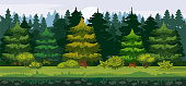Vector cartoon illustration of the spruce forest for the game UI. . For print, create videos or web graphic design, user interface, card, poster
