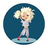 Vector Cartoon Illustration with a Blonde Cartoon Girl
