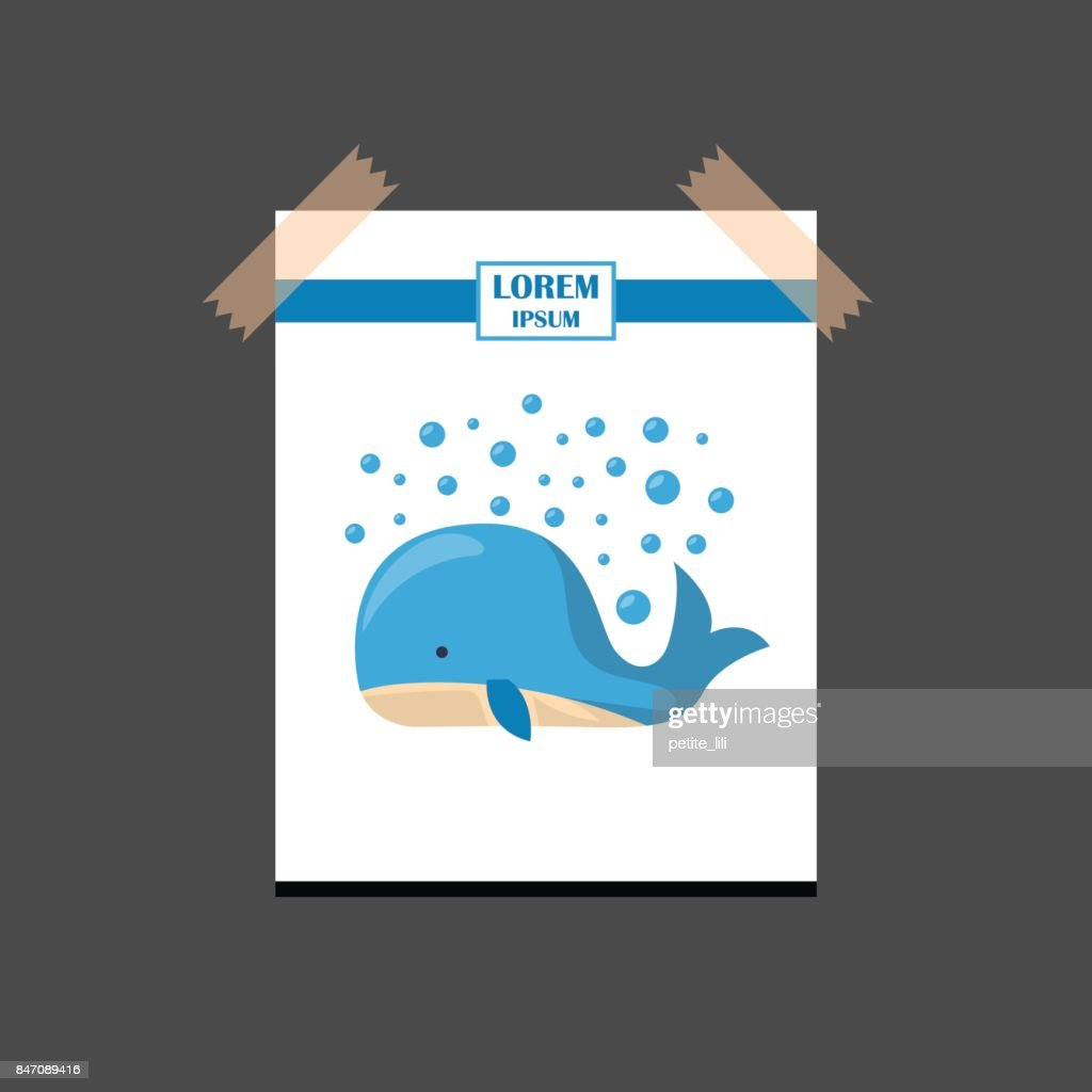 Vector cartoon isolated cute whale