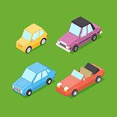 Vector Cartoon Isometric Cars