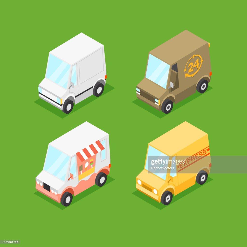 Vector Cartoon Isometric Minivans
