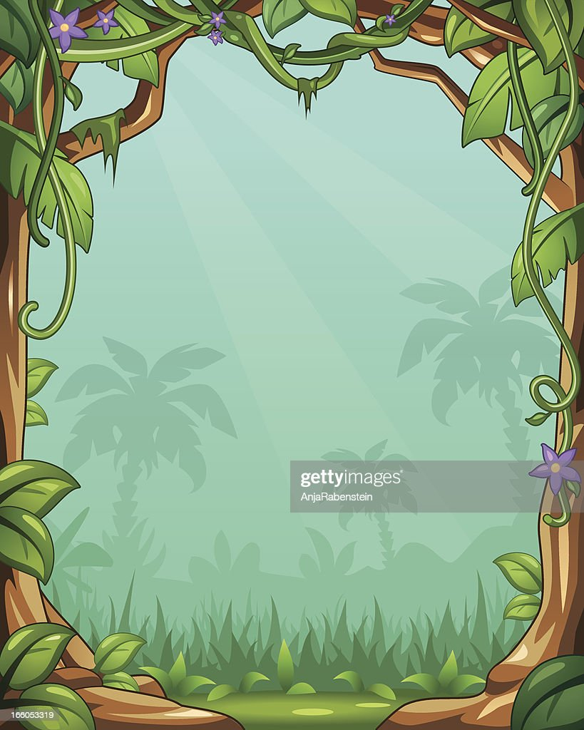 Vector Cartoon Jungle Background With Vines And Palm Trees High Res Vector Graphic Getty Images