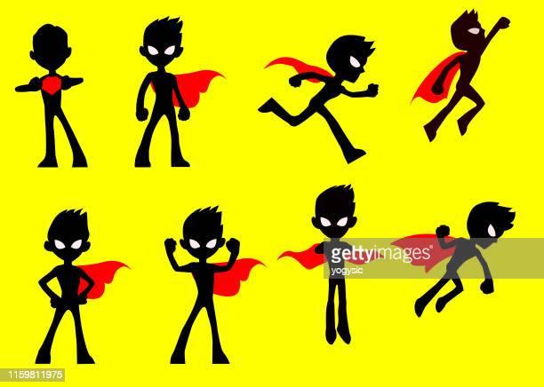 vector cartoon kids superhero pose silhouette set - cape garment stock illustrations