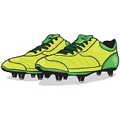 Vector Cartoon Light Green Soccer Boots