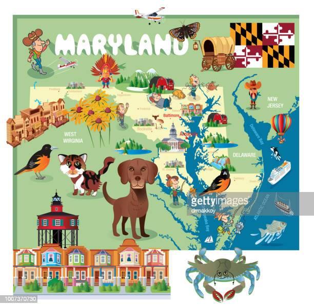 vector cartoon map of maryland - blue crab stock illustrations