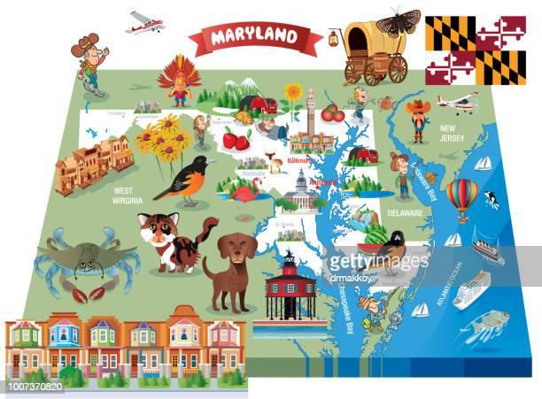 vector cartoon map of maryland - baltimore maryland stock illustrations, clip art, cartoons, & icons
