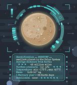Vector cartoon Mercury planet with HUD interface