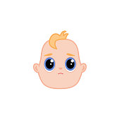 Vector cartoon newborn infant baby sad face
